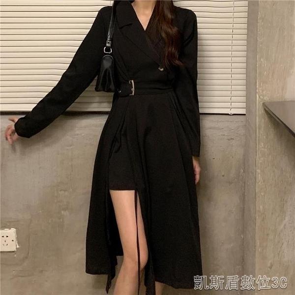 秋季秋裝新款黑色西裝領設計感小眾長裙收腰顯瘦氣質洋裝女神版 凱斯盾