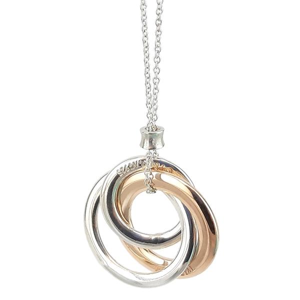 【奢華時尚】TIFFANY 1837系列-Rubedo金色三環墜飾925純銀項鍊