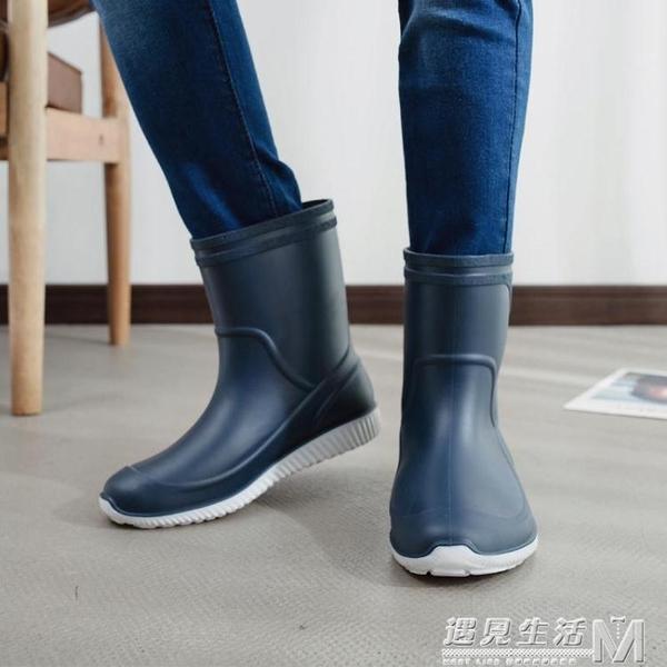 雨鞋男膠鞋中筒防滑防水雨靴水鞋套鞋釣魚鞋洗車工作鞋男膠鞋 遇见生活