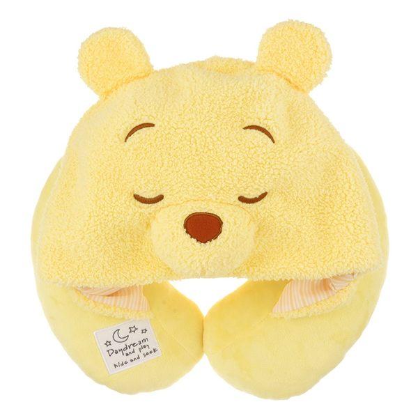 【京之物語】日本迪士尼小熊維尼連帽式頸枕-預購商品