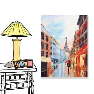 【24mama 掛畫】單聯式 油畫布 無框畫 30x40cm-巴黎街道油畫布無時鐘