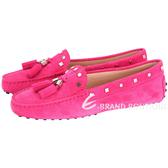 TOD'S Mocassini Donna 幾何金屬豆豆休閒鞋(女鞋/桃紅色) 1720114-41