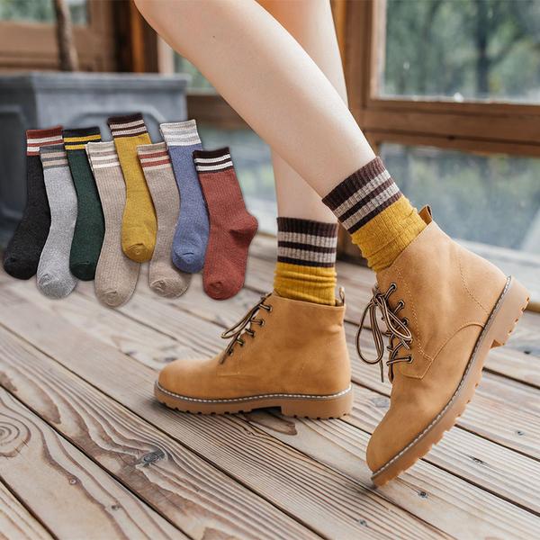 【Stay】秋冬復古森系棉質素色雙槓中筒襪 襪子 長襪