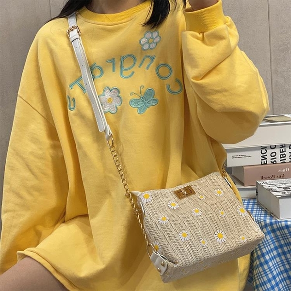 夏天網紅草編包包2020新款高級感女包洋氣百搭錬條編織單肩斜背包 陽光好物