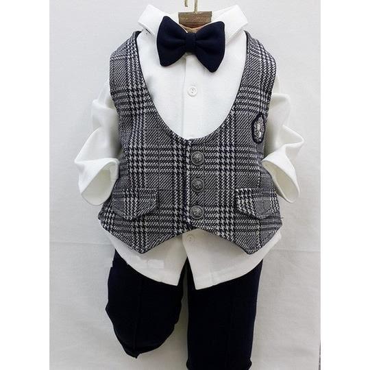 韓國童裝 男寶寶 花童婚禮宴會正式西裝 三件式套裝-灰【KORE210020011】