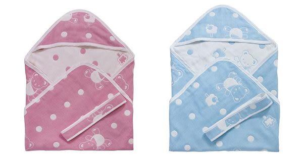 **小饅頭**Baby City 六層紗包巾(粉/藍) (BB34086P/B)