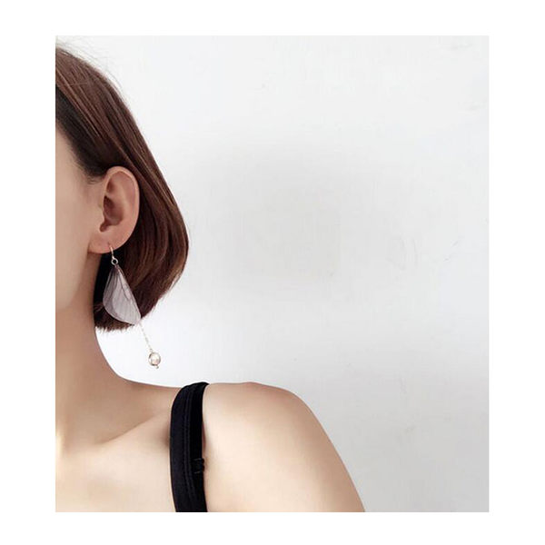 耳環 簡約 鍊條 流蘇 珠珠 翅膀 氣質 耳環【DD1705060】 BOBI  06/22
