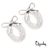 Quenby 925純銀 高調俏皮感蝴蝶結鏤空設計耳環/耳針/銀飾