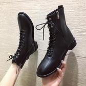 短靴 英倫風機車馬丁靴女新款秋季單靴春秋網紅帥氣粗跟短靴秋