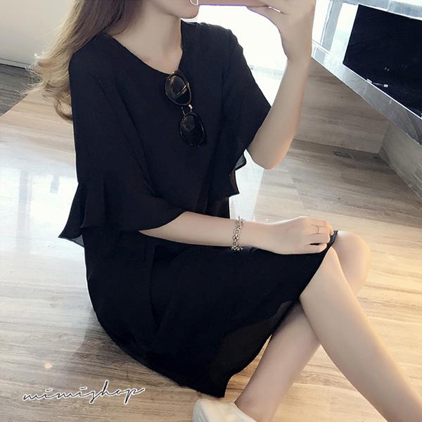 孕婦裝 MIMI別走【P521053】輕盈浪漫 荷葉雪紡連身裙 孕婦裙 寬版洋裝