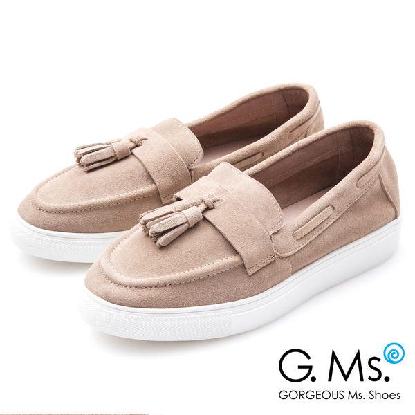 G.Ms. 牛麂皮流蘇莫卡辛厚底鞋*卡其