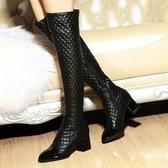 真皮過膝靴-歐美時尚菱格紋尖頭粗跟女長靴73iv17【時尚巴黎】