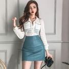 歐媛韓版 白色韓國襯衫 女設計感小眾新款職業氣質修身百搭上衣洋氣蕾絲小衫