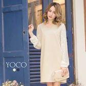 東京著衣【YOCO】唯美氣質珍珠V領蕾絲拼接洋裝-S.M.L(171893)