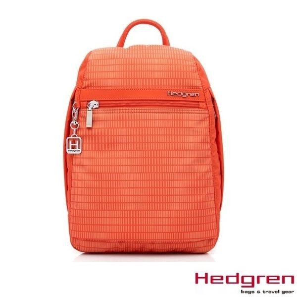 Backbager 背包族【比利時Hedgren】HIC -Inner City 都會系列-後拉鍊式後背包-小(銀橘條紋)