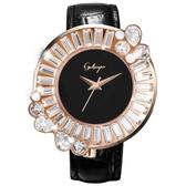 Galtiscopio迦堤 閃轉浪漫系列幾何手錶-黑x玫塊金框/36mm SRRGS001BLS