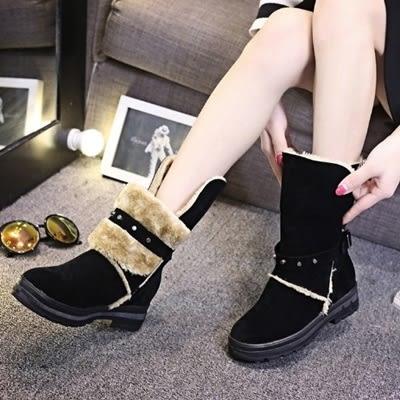 中筒雪靴-時尚保暖舒適百搭女高跟靴子2色73kg14[巴黎精品]
