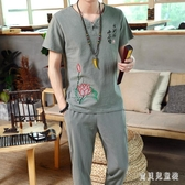 中國風棉麻套裝短袖T恤復古風九分褲男裝刺繡民族盤扣唐裝潮 CJ4110『寶貝兒童裝』