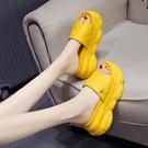 增高拖鞋 拖鞋女外穿潮夏季新款鬆糕厚底楔形內增高厚底涼拖鞋涼鞋-Ballet朵朵