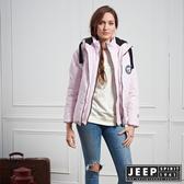 【JEEP】女裝 甜美運動風連帽舖棉外套 (淺粉)