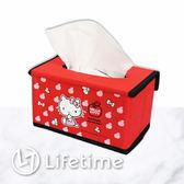 ﹝Kitty蘋果紅折疊面紙盒﹞正版面紙盒 收納盒 小物盒 凱蒂貓〖LifeTime一生流行館〗B01355