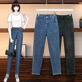 高腰牛仔褲女中大尺碼M-5XL寬松緊腰顯瘦哈倫老爹蘿卜褲胖mm大碼休閒女褲F3F132韓衣裳