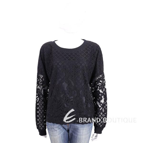 TRUSSARDI 黑色縷空拼接蕾絲長袖上衣 1720304-01