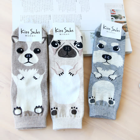 韓國 超萌狗狗造型短襪 四分襪 襪子 造型襪 流行襪 法鬥 鬥牛犬 約克夏 雪納瑞