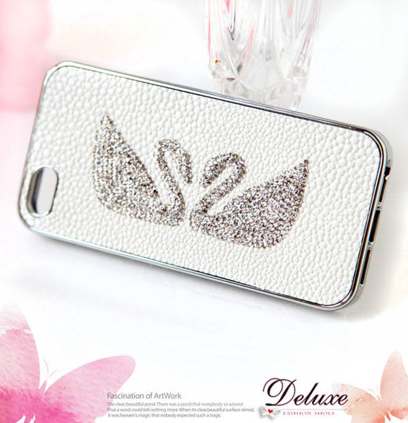 ☆Deluxe☆時尚新潮~水鑚雙天鵝造型皮革壓紋 iphone5專用手機殼★白