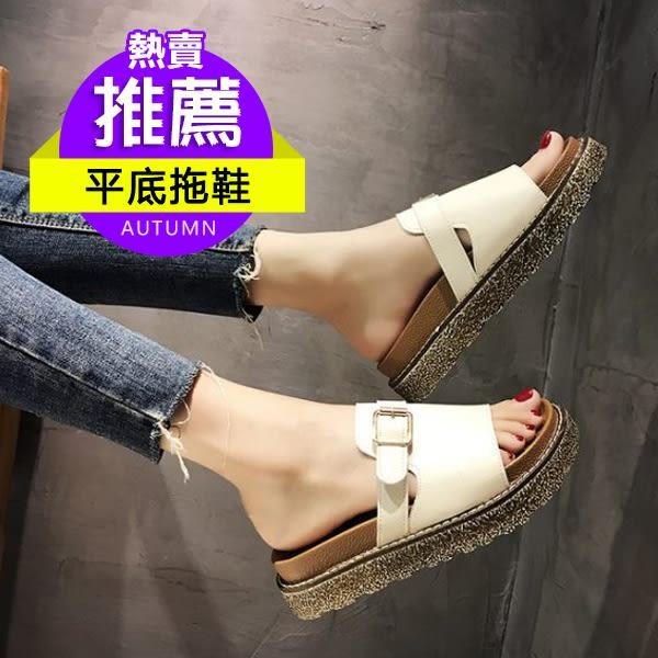 皮帶扣平底拖鞋女夏季新款鬆糕厚底拖鞋外穿軟底韓版一字拖女 居享優品