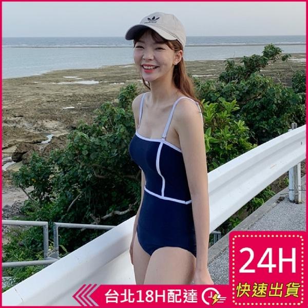 【現貨】梨卡 - 連身泳衣連身泳裝 -純色【有胸墊+顯瘦遮肚】性感歐美比基尼三角泳衣CR613