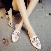 老北京布鞋繡花拖鞋 中國民族風復古亮面時尚拖鞋女鞋