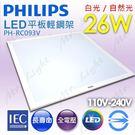 【有燈氏】PHILIPS 飛利浦 LED 26W 平板燈 輕鋼架 高亮度 無藍光【PH-RC093V26】