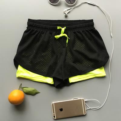 運動健身瑜伽彈力顯瘦防走光雙層短褲 速幹跑步服女  -6886007