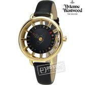 Vivienne Westwood / VV055BKBK / Tate 女人知心鏤空時標皮革手錶 黑x金框 33mm