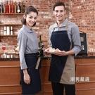 圍裙圍裙正韓時尚牛仔廚房咖啡廳男女繪畫工作服掛脖圍裙