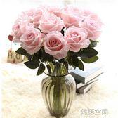 單支仿真玫瑰花假花套裝高檔客廳餐桌裝飾花干花花束擺件擺設花藝  IGO