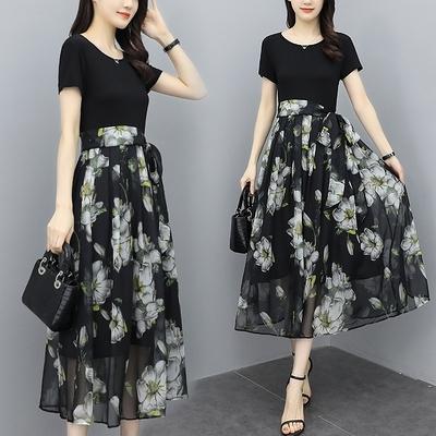 胖妹妹大碼洋裝連身裙~韓版洋氣修身大擺短袖長裙超仙女收腰顯瘦氣質連身裙中長N118A1愛尚布衣