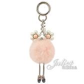 茱麗葉精品【全新現貨】FENDI 7AR406 珍珠花眼睛毛怪造型吊飾鑰匙圈.粉