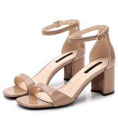 新款女粗跟涼鞋 露趾夏季一字帶時尚氣質 LR1595【Pink 中大尺碼】