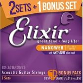 【缺貨】Elixir 黃銅民謠吉他弦 三包裝 Nanoweb 16538 (11-52) ELIXIR弦 /木吉他弦