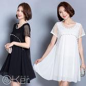 透氣舒適素色珠面造型大尺碼連身裙 O-Ker歐珂兒 LLA9989-C