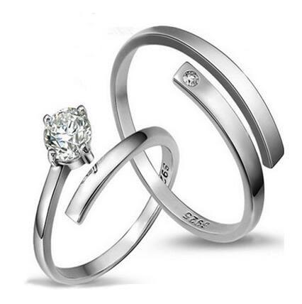 s925純銀指環開口情侶對戒男女戒指鋯石婚戒一對活口 夢想生活家
