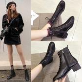 英倫風馬丁靴女2020年新款秋季單靴春秋百搭粗跟中跟黑色小短靴