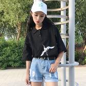 夏季原宿可愛polo衫小清新女刺繡百搭學院風寬鬆t恤學生短袖