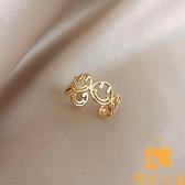 網美鏤空笑臉戒指女小眾設計食指指環時尚個性開口戒潮流【慢客生活】