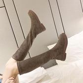 不過膝長靴女平底2019秋冬新款中筒靴馬丁靴子加絨面瘦腿彈力靴潮 安妮塔小鋪