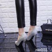 銀色婚鞋女2019春新款成人禮婚紗水晶高跟鞋女網紅同款細跟單鞋女   (PINKQ)