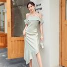 洋裝 一字肩連身裙女夏氣質修身不規則露肩法式復古性感吊帶裙-Ballet朵朵