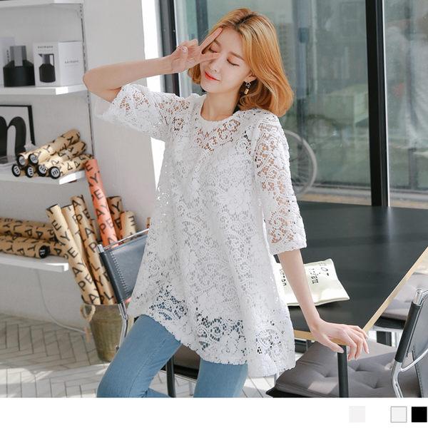 OB嚴選《AA9455-》素色蕾絲鏤空圓領七分袖長版上衣/洋裝.2色--適 M~XL